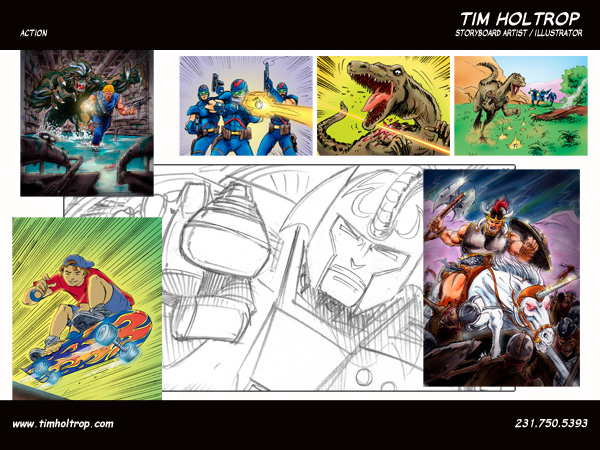 Art samples by storyboard artist, Tim Holtrop -- action