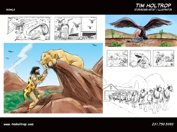 Art samples by storyboard artist, Tim Holtrop -- animals