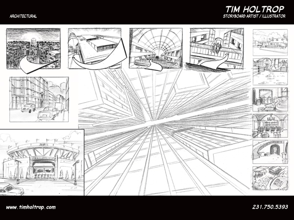 Art samples by storyboard artist, Tim Holtrop -- architectural