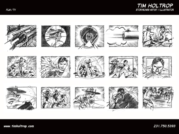 Art samples by storyboard artist, Tim Holtrop -- film and television