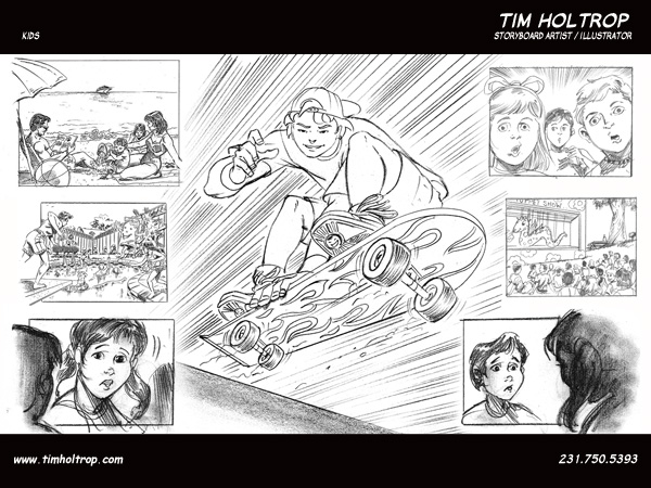 Art samples by storyboard artist, Tim Holtrop -- kids