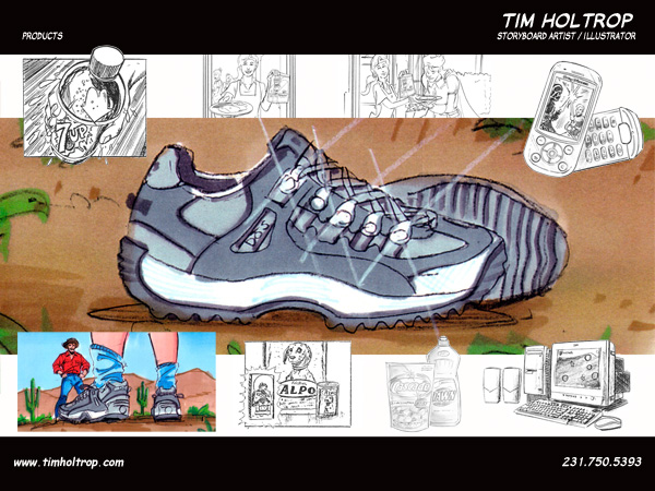 Art samples by storyboard artist, Tim Holtrop -- products