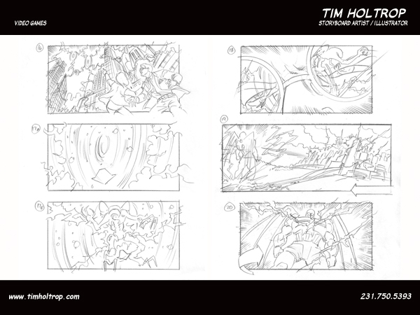 Art samples by storyboard artist, Tim Holtrop -- video games